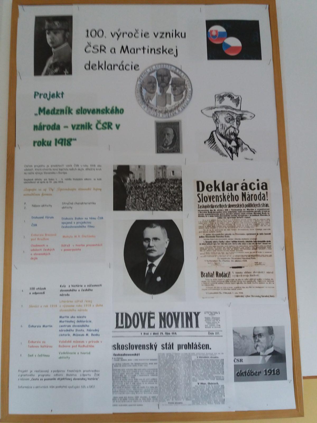 Vyhodnotenie projektu  Medzník  slovenského národa – vznik ČSR v roku 1918